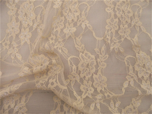 Stretch Mesh Lace Fabric Dark Ivory Floral Sheer Metallic Sheen A207