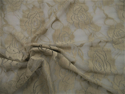 Stretch Mesh Lace Fabric Pale Brown Floral Sheer A307