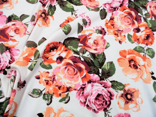 Printed Liverpool Textured Fabric 4 way Stretch Peach Mauve Burgundy Floral I700