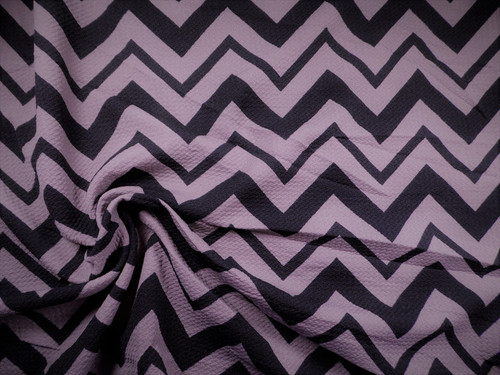 Bullet Printed Liverpool Textured Fabric 4 way Stretch Black Gray Chevron R50