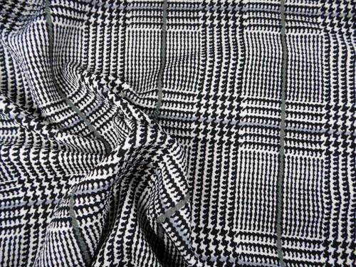 Fabric Printed Liverpool Textured 4 way Stretch Glen Plaid Black White Gray K708
