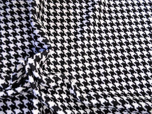 Bullet Printed Liverpool Textured Fabric Stretch Sm Houndstooth Black White U16