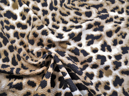 Bullet Printed Liverpool Textured Fabric 4 way Stretch Cheetah Taupe Black W35