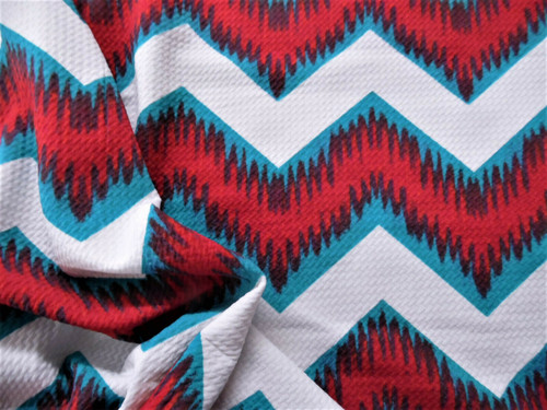 Bullet Printed Liverpool Textured Fabric 4way Stretch White Red Teal Chevron Q14