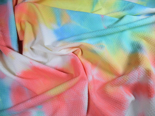 Bullet Hand Tie Dye Liverpool Textured Fabric Stretch Yellow Pink Teal Blue W18