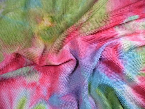 Bullet Hand Tie Dye Liverpool Textured Fabric Stretch Green Purple Pink Blue W36