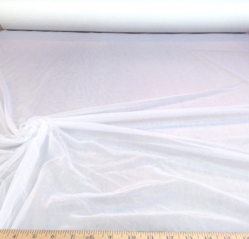"Discount Fabric 108"" White PowerNet Stretch Mesh Spandex sheer PO10"