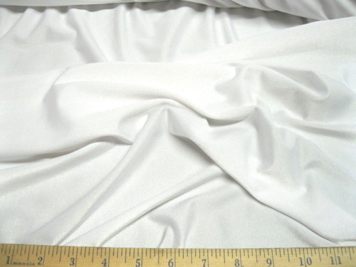 Discount Fabric Polyester Lycra Spandex  4 way stretch White Matt Finish LY710