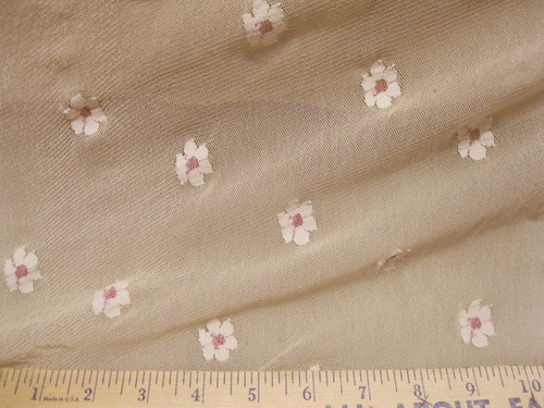 Discount Fabric Daisies on Nude PowerNet Mesh Spandex 4 way Stretch sheer  LC334
