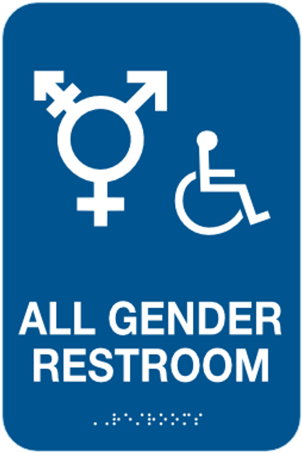 All Gender Restroom Sign - Braille and Handicap Accessible