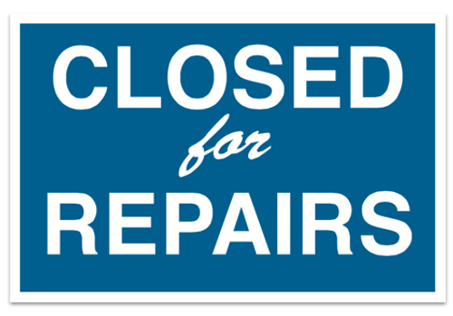 Closed for Repairs Sign - Magnetic