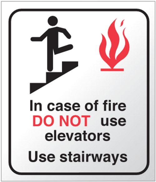 In Case Of Fire Do Not Use Elevators, Use Stairs