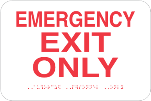 Emergency Exit Only - Braille