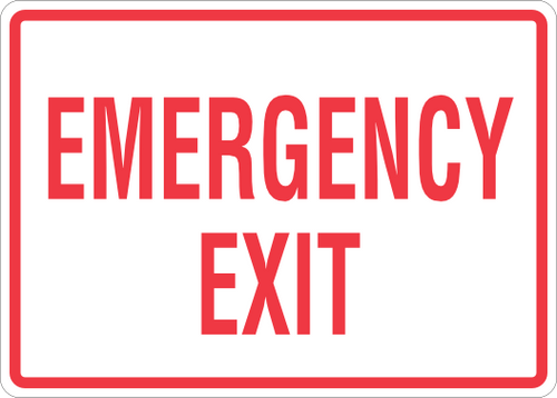 Emergency Exit Sign 14'' x 12''