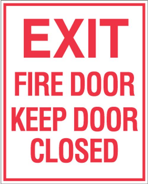 """Exit Fire Door Keep Door Closed 8"""" x 10"""""""