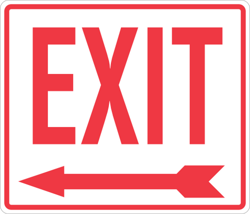 Exit Sign 14'' x 12'' Left