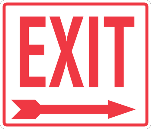 Exit Sign 14'' x 12'' Right