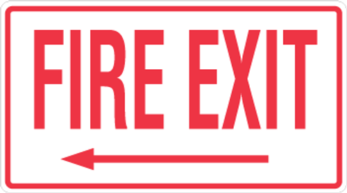 Fire Exit Sign -  Left Arrow