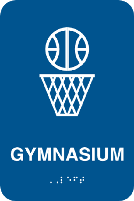 Gym Sign with Braille Lettering