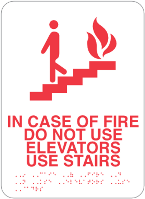 In Case of Fire Sign - Do Not Use Elevators, Use Stairs