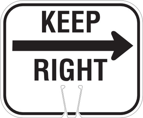 Keep Right Cone Sign