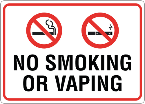 No Smoking or Vaping Sign/Sticker