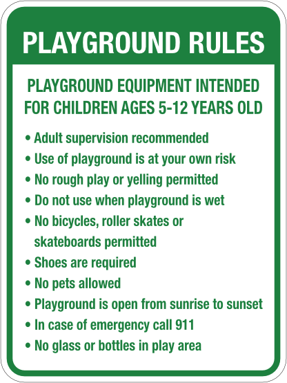playground rules sign 18x24 green
