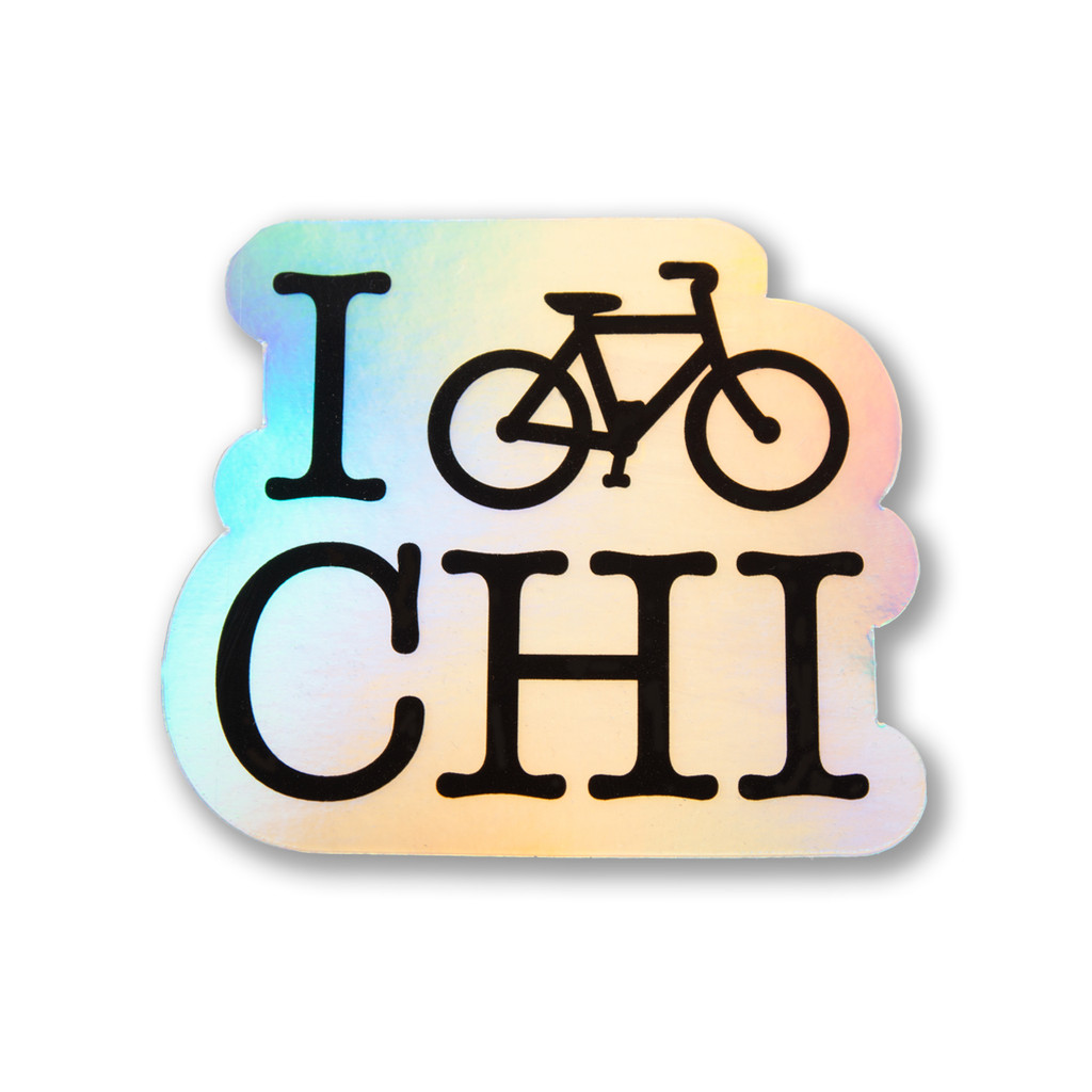 I Bike CHI Holographic Sticker