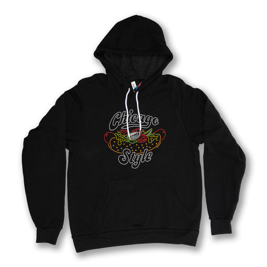 Neon Chicago Style Hot Dog Pullover Hoodie - Unisex