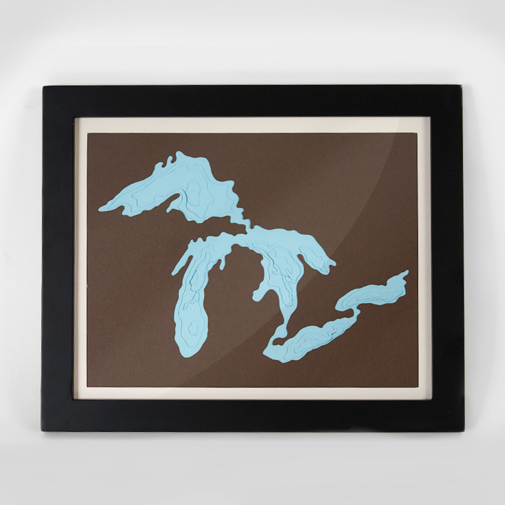 Great Lakes Paper Bathymetry - Framed Wall Art