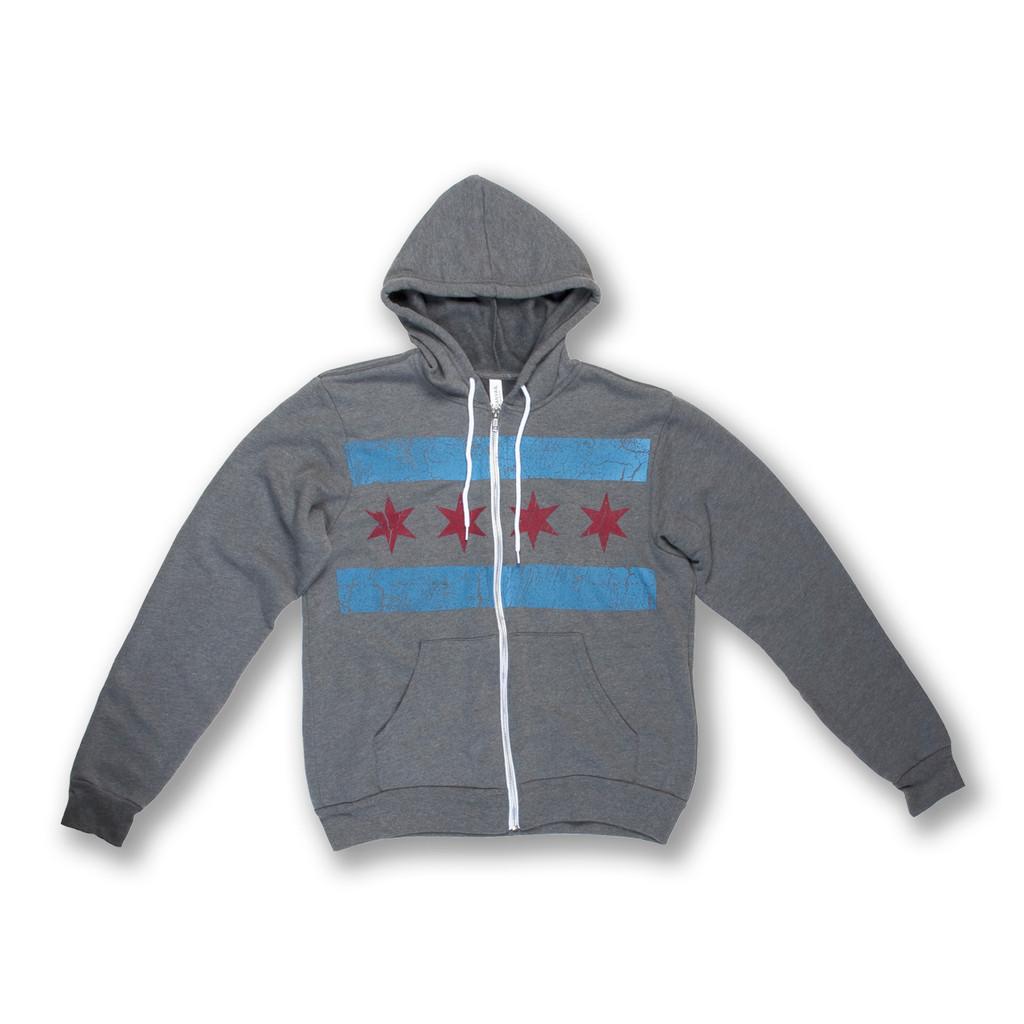 Oversized Chicago Flag Zip Up Hoodie - Unisex
