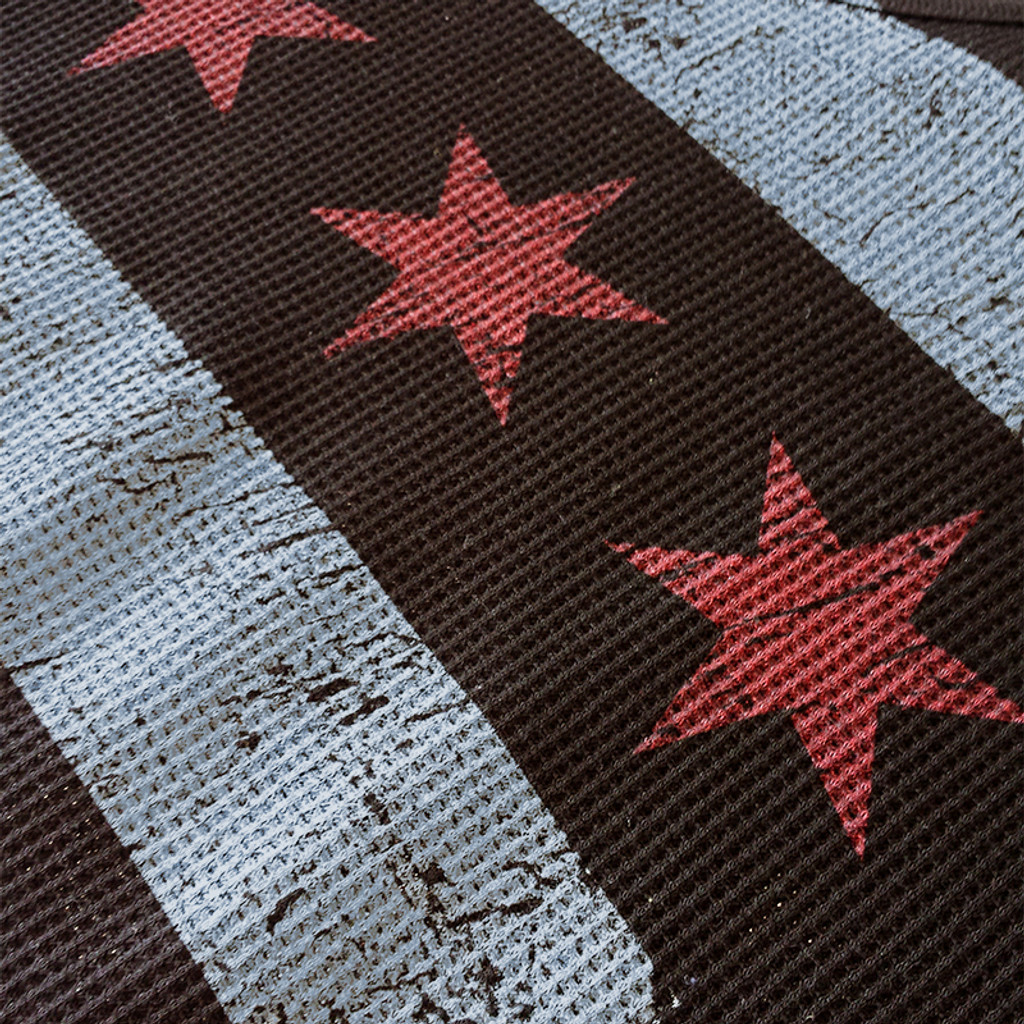 Detail of the Chicago Flag print