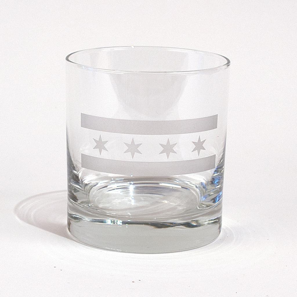 Chicago Flag Whiskey Glass
