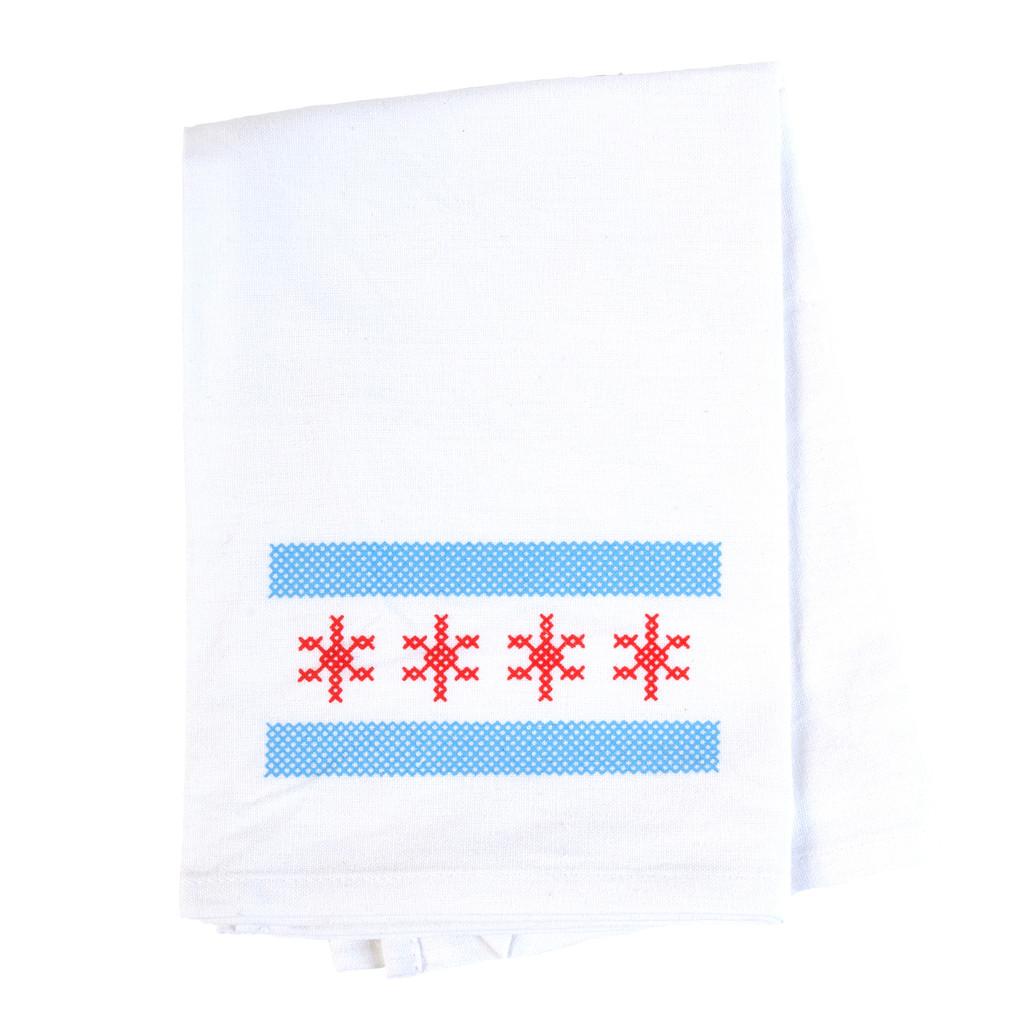 Chicago Flag Flour Sack Towel