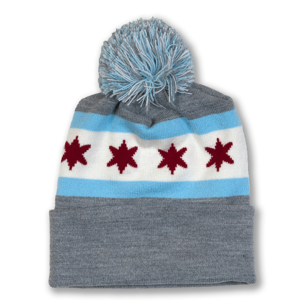 Chicago Flag Knit Beanie with Pom