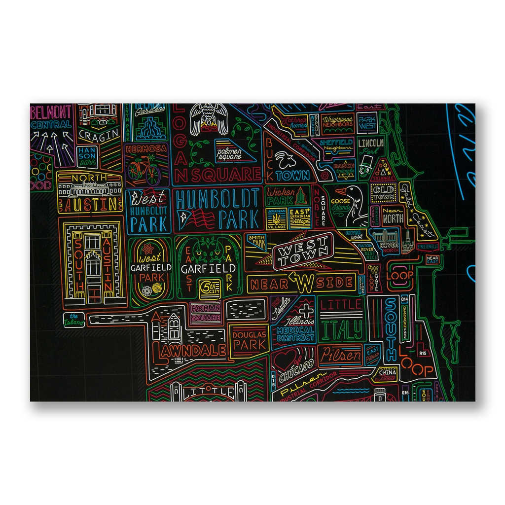 Neon Neighborhood Map of Chicago Poster