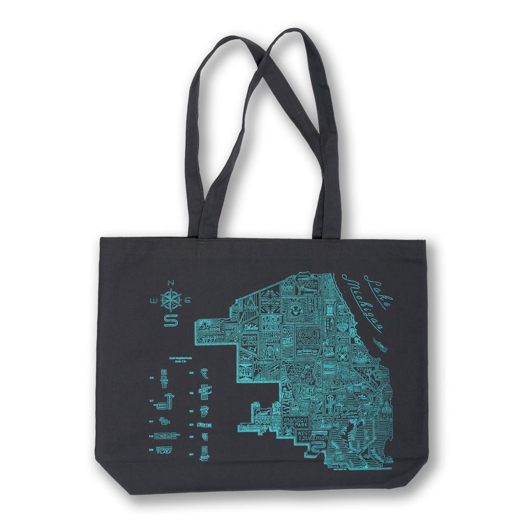 Neon Neighborhood Map Tote Bag