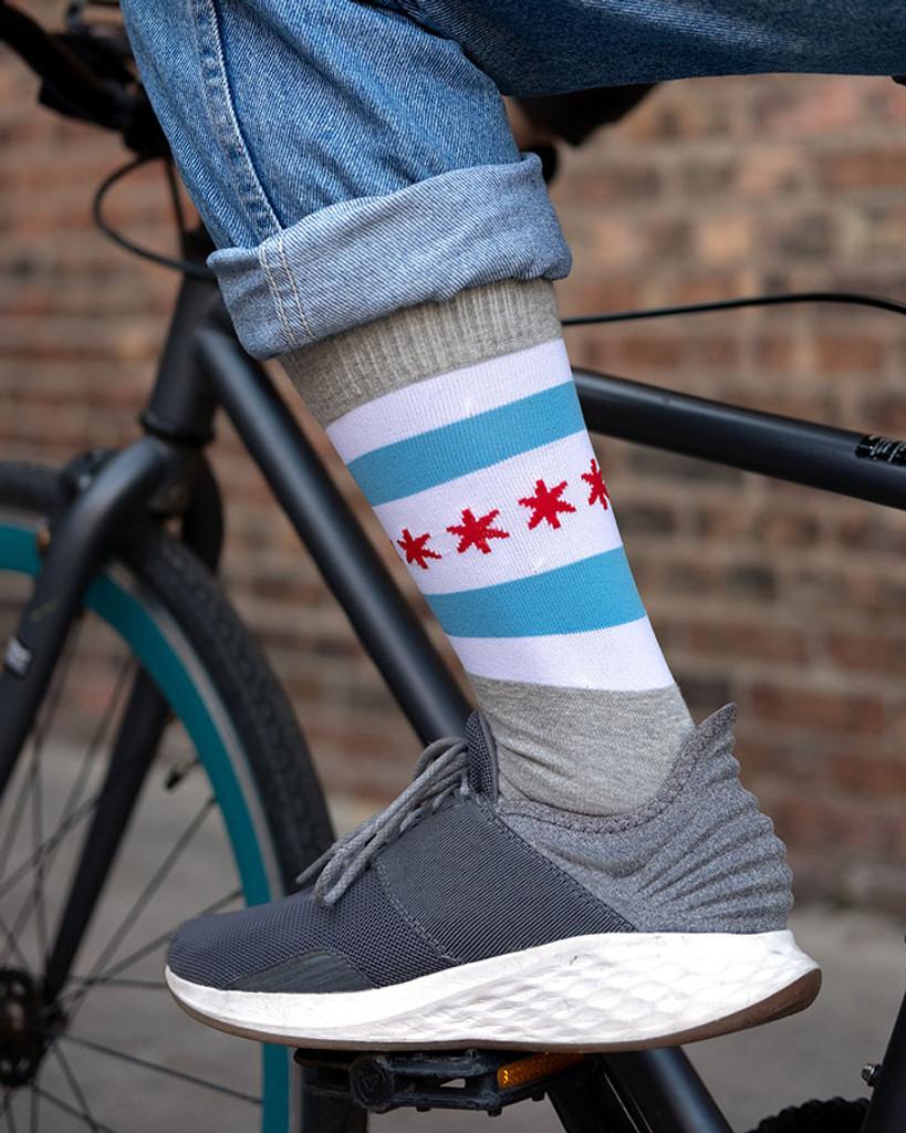 Chicago Flag Dress Socks - Heather Grey