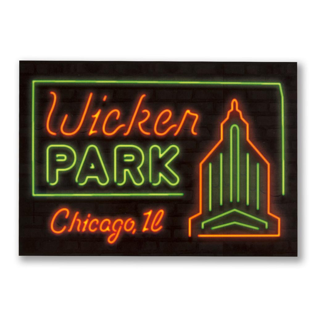 Wicker Park Neon Neighborhood Postcard