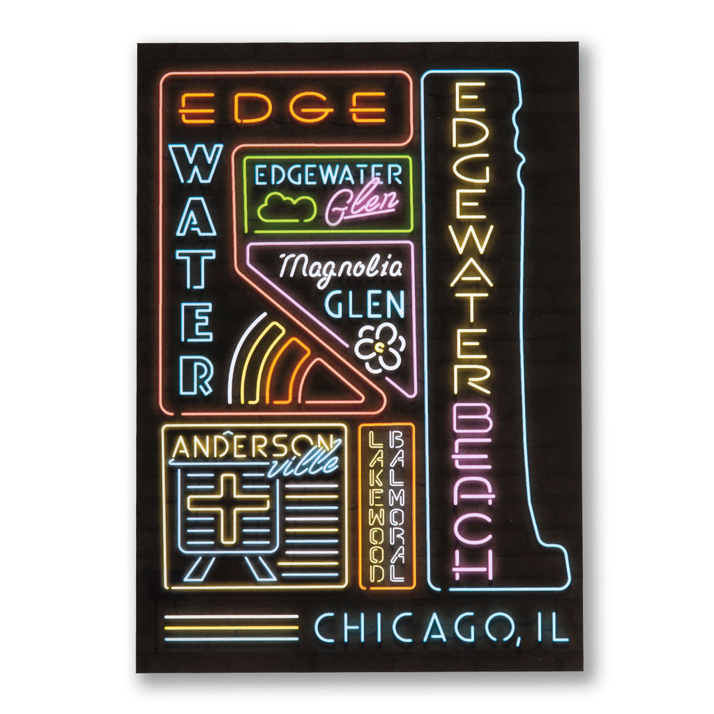 Edgewater Neon Neighborhood Postcard