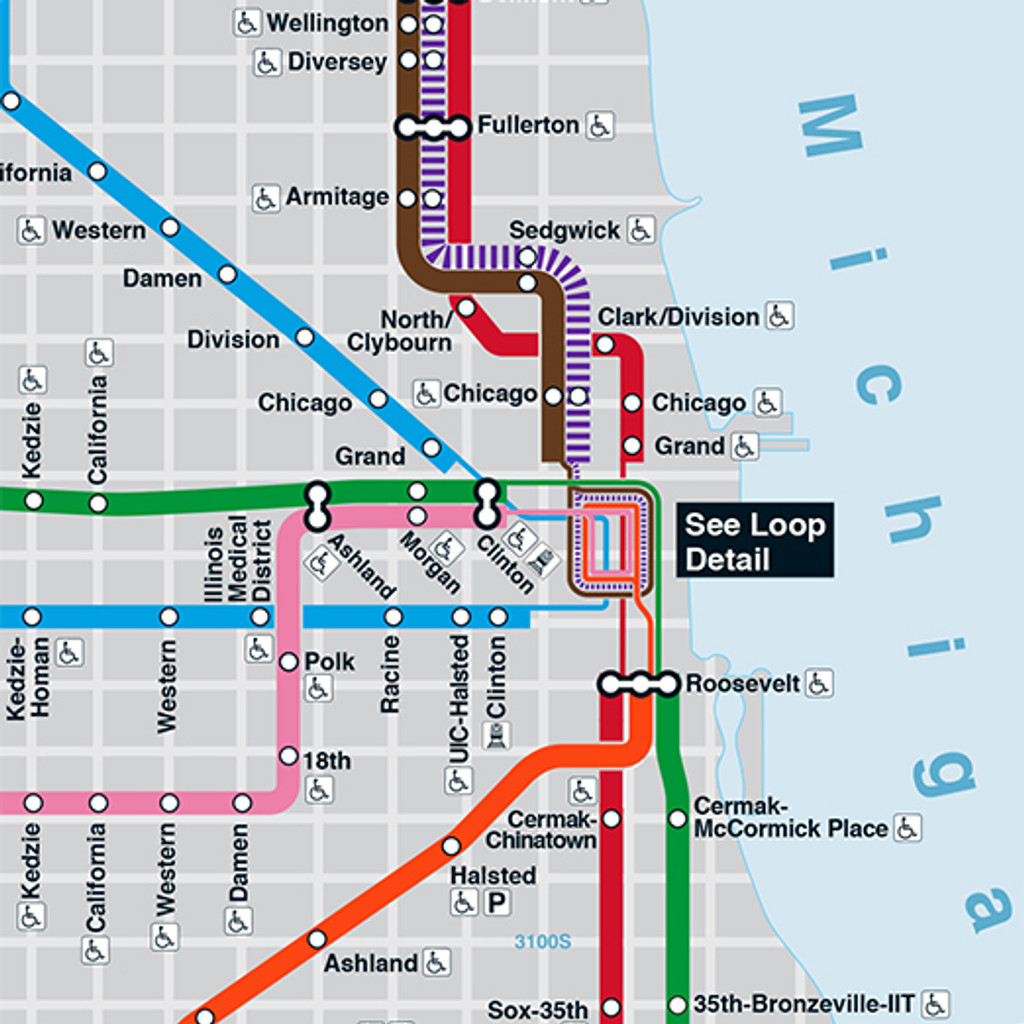 CTA Rail System Map Poster Chicago Map Poster on