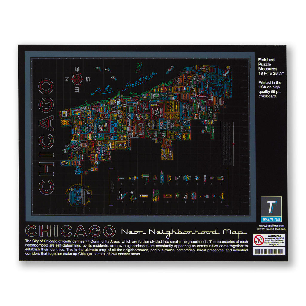 Neon Neighborhood Map of Chicago 1000 Piece Puzzle