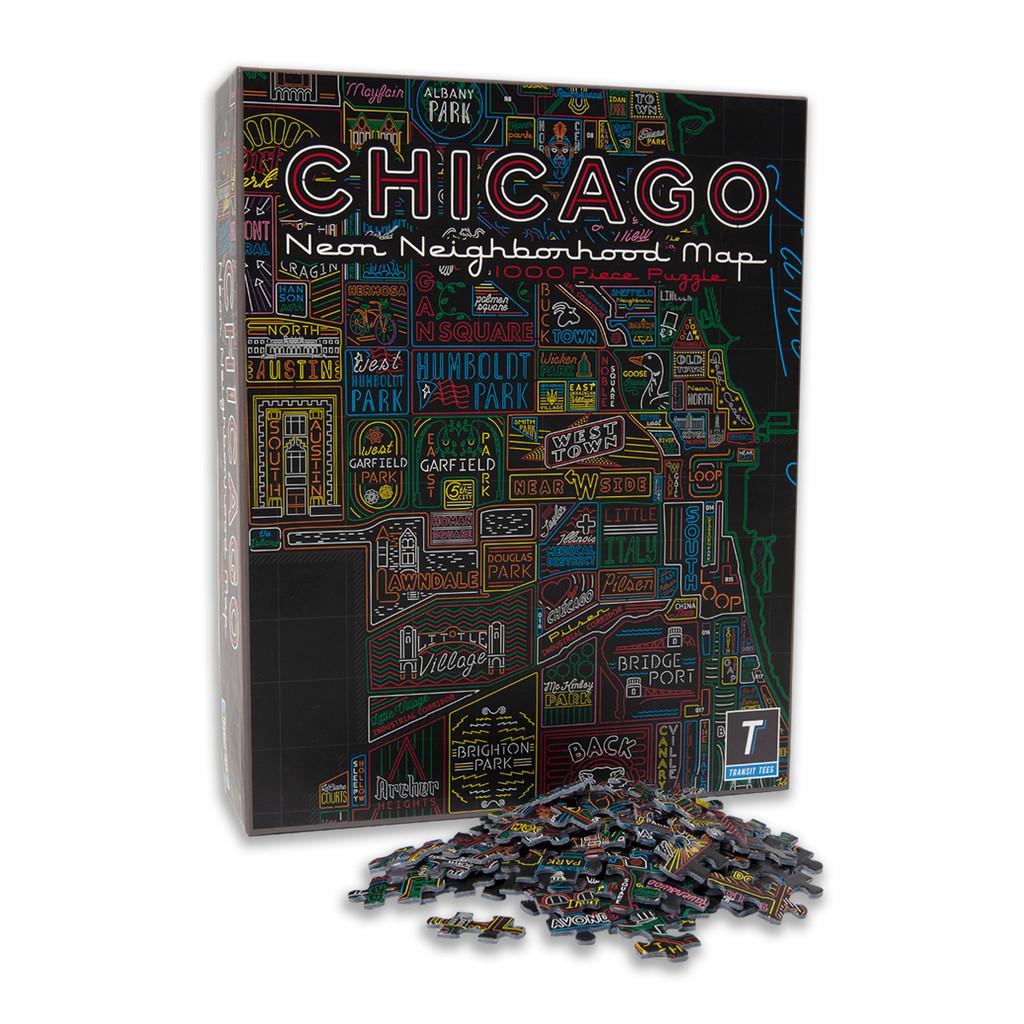 Neon Neighborhood Map of Chicago 1000 Piece Puzzle