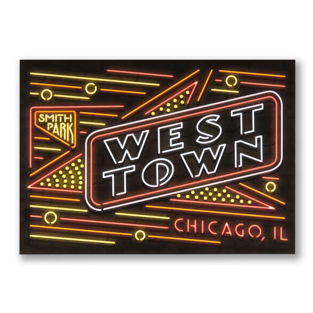 West Town Neon Neighborhood Postcard