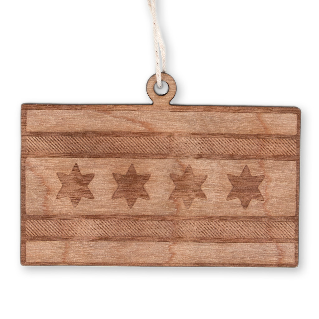 Chicago Flag Wood Ornament