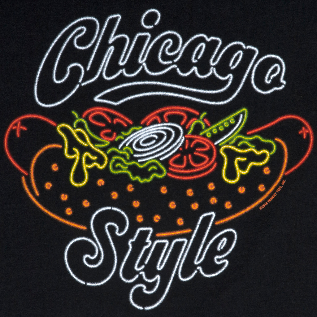 Neon Chicago Style Hot Dog Tee - Men's