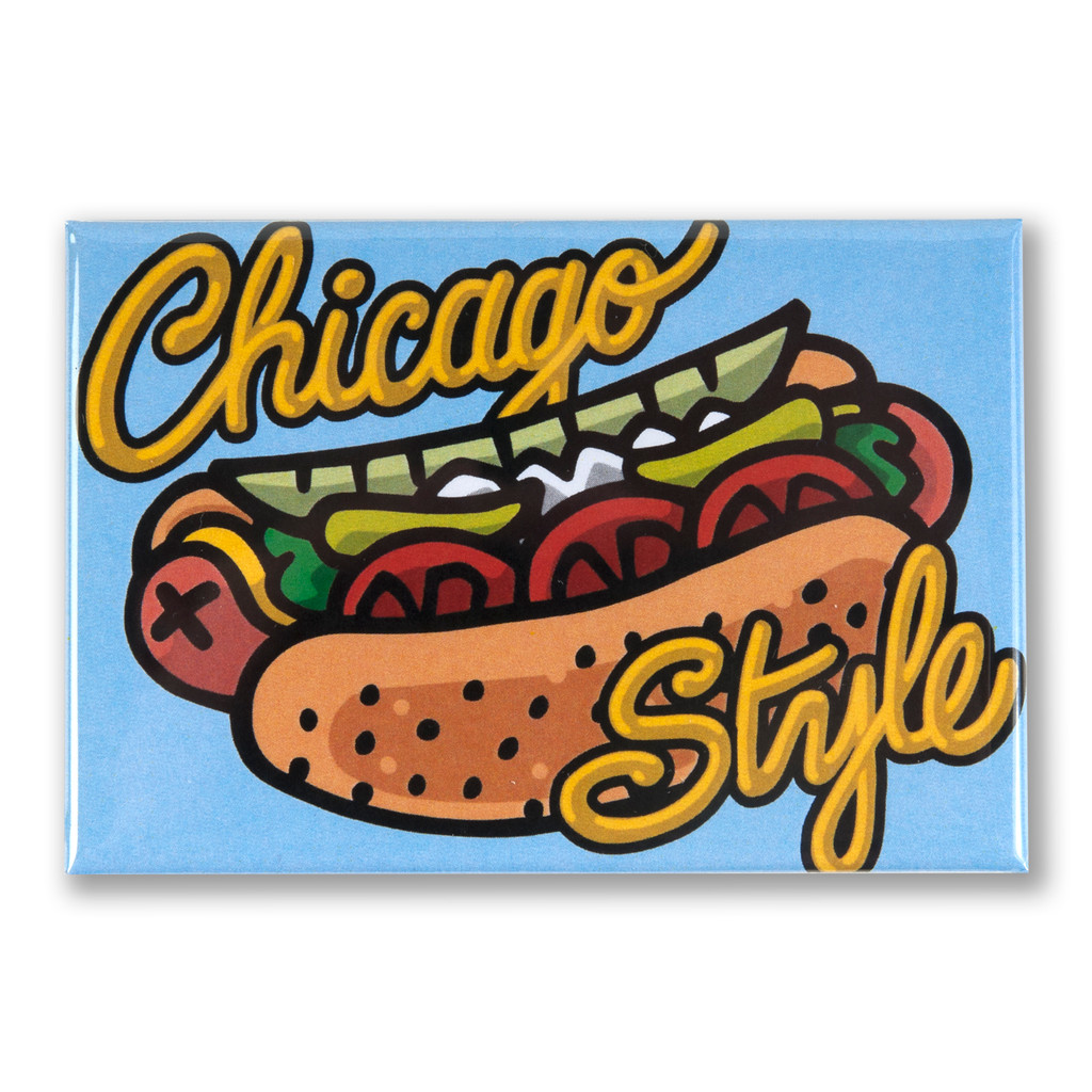 "Chicago Style Hot Dog 3"" x 2"" Magnet"