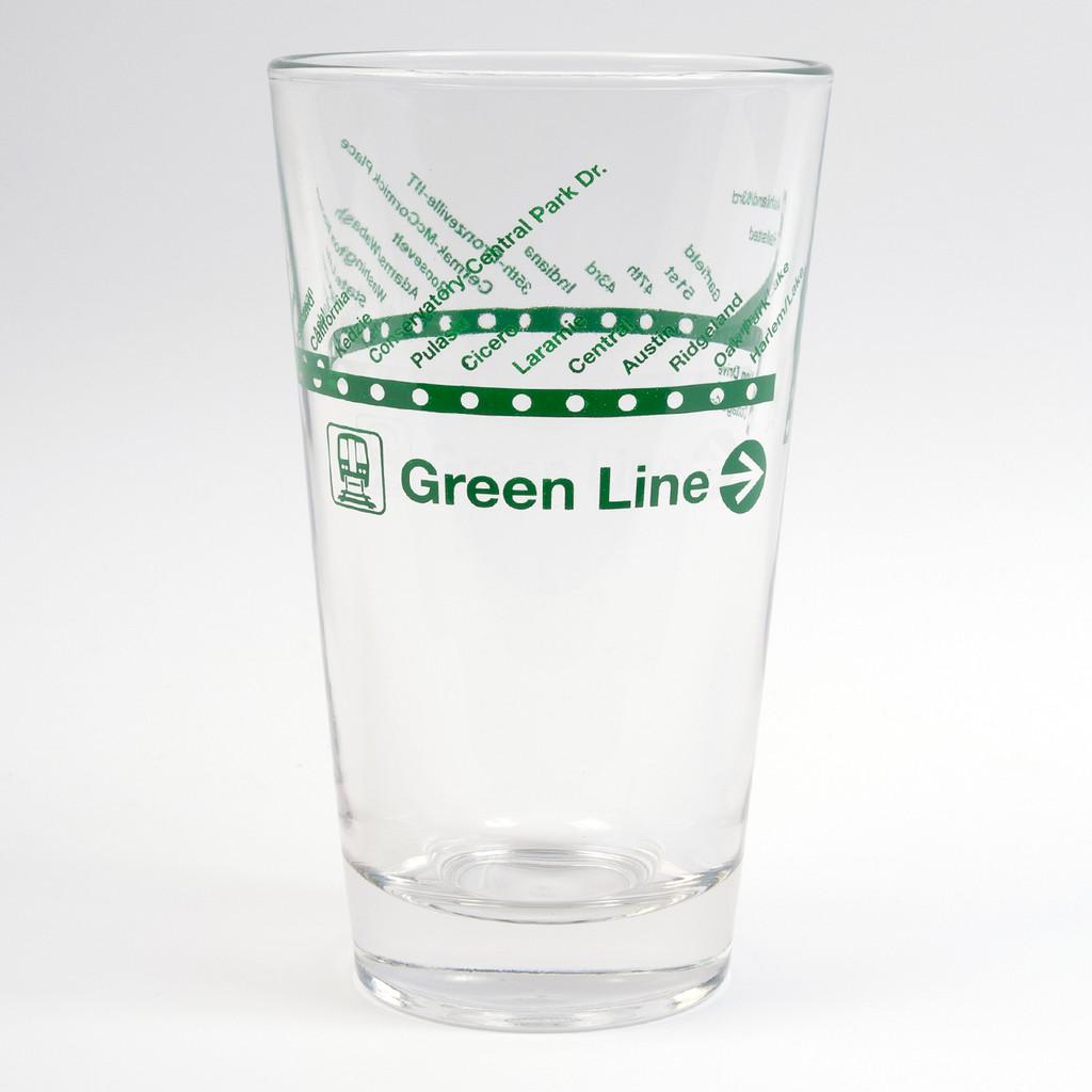 CTA Green Line Pint Glass