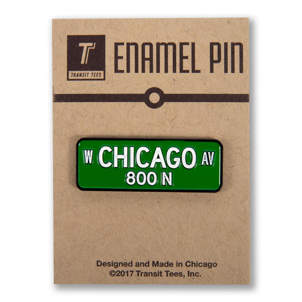 Chicago Ave Street Sign Enamel Pin