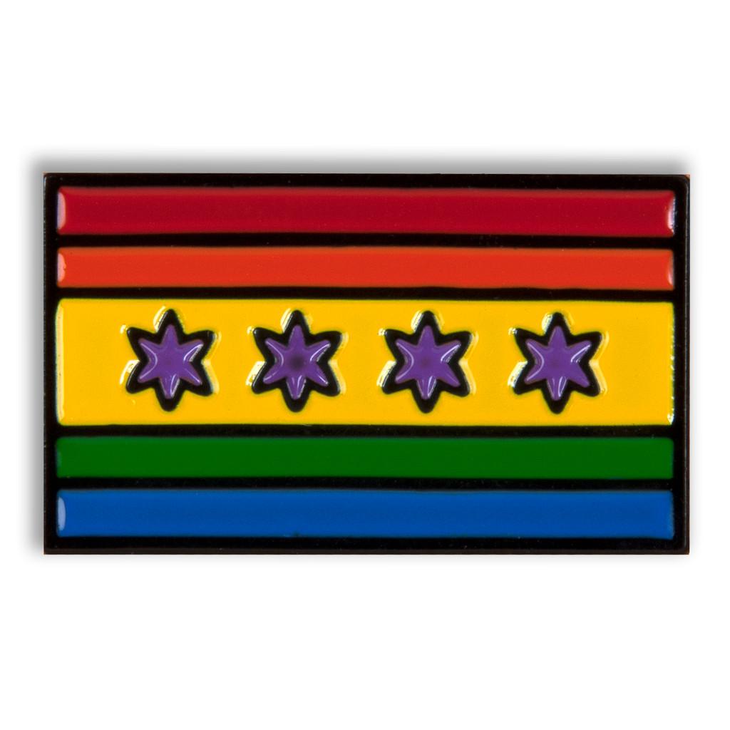 Chicago Pride Flag Enamel Pin